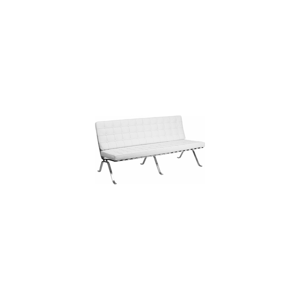 White Leather Sofa With Curved Legs Party Depot