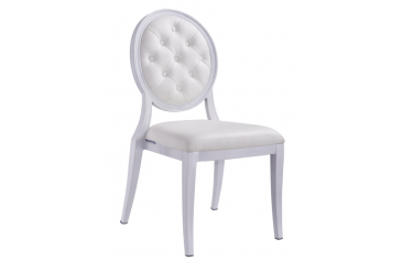 ALUMINIUM WHITE TUFTED STACKING MEDALLION BANQUET CHAIR