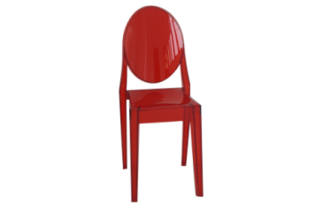 RED TRANSPARENT GHOST CHAIR